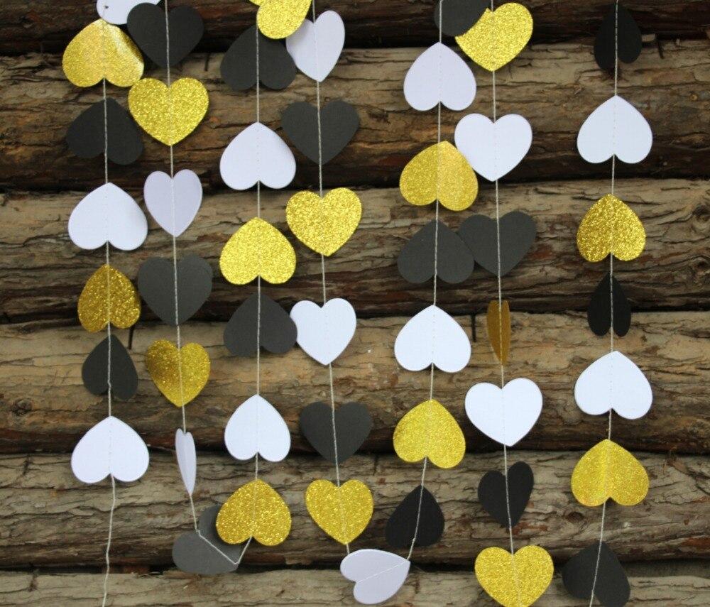 55 Guirnalda De Papel Negroblancodorado Decoración De Boda Guirnalda De Corazón De Papel Para Fiesta De Cumpleaños Decoración Colgante Para