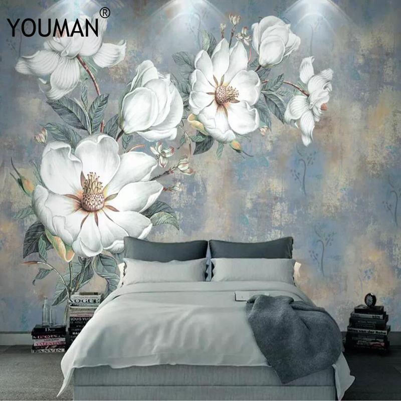 3D Custom Modern HD Photo Wallpaper Mural Painting White Flowers For Bedroom TV Background Living Room Floral Home Decorative