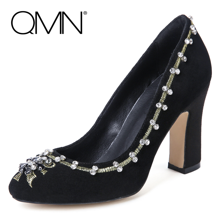 ФОТО QMN women crystal embellished embroidered suede pumps Women Retro Block High Heels Court Shoes Woman Leather Dress Pumps