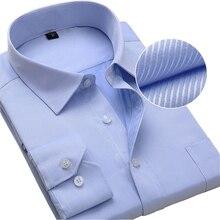 حجم كبير الرجال فستان قمصان طويلة الأكمام سليم صالح الصلبة مخطط الأعمال الرسمي الأبيض قميص رجالي الذكور الملابس الاجتماعية كبيرة الحجم