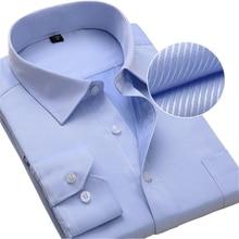 Plus size homens vestido camisas de manga longa fino ajuste sólido listrado negócios formal branco homem camisa masculino social tamanho grande roupas