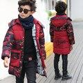 Подростков одежда ватные утолщение средней длины вниз хлопка-ватник детская одежда ребенок Камуфляж зимнее пальто