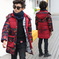 teenage boys clothes wadded thickening medium-long down cotton-padded jacket children's clothing child Camouflage winter coat