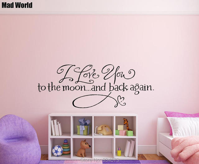 Mad world i love you to the moon and back again wall art stickers wall