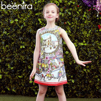 Beenira Girls Dresses 2017 New Summer Style Children Birds And Landscape Pattern Princess Dress Kids Sleeveless