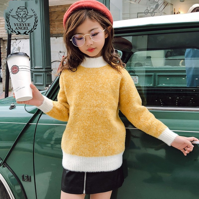 Hot Sale Yellow Blue Baby Girls Sweaters Knit Bottoming Sweater For Girls Plus Velvet Kids Turtleneck Winter Clothes Pull Fille slim fit cable knit turtleneck sweater