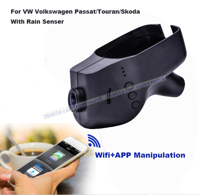 Car DVR Camera Video Recorder WiFi APP Manipulation Novatek 96655 IMX 322 Dashcam For Volkswagen Skoda/Passat With Rain Senser