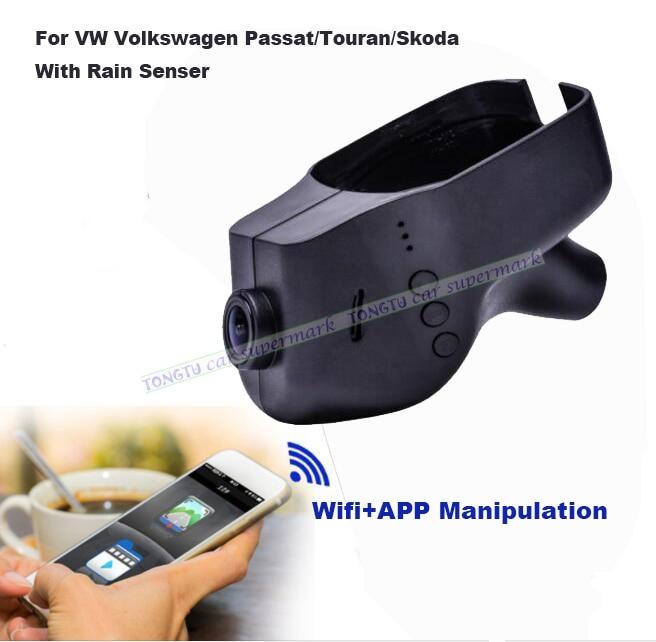 Car DVR Camera Video Recorder WiFi APP Manipulation Novatek 96655 IMX 322 Dashcam For Volkswagen Skoda/Passat With Rain Senser