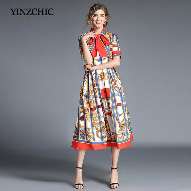 dd0fdbb892 Moda kobieta lato sukienka królewski drukowania kobiet sukienki midi paski  linii sukienka dla kobiet Party sukienki w stylu Vintage tanie ceny
