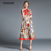 Fashion Woman Summer Dress Royal Printing Female Midi Dresses Striped A Line Dress For Female Party Vintage Dresses Cheap Price