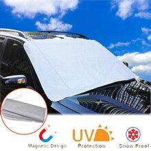 Магнитный автомобильный Снежный чехол для лобового стекла автомобиля, ветрозащитная шторка, солнцезащитный козырек, шторка на переднее окно, экран, ледяной мороз, аксессуары