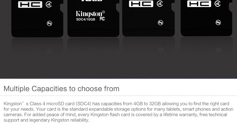 Kingston microSD card Digital 16 GB 32 GB Class 4 microSDHC Flash Card (SDC4/16GBET SDC4/32GBET) 16