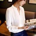 New Casual Mulheres Brancas Blusa Das Senhoras Elegantes Sólidos Blusas Com Decote Em V Camisa de Manga Longa Escritório OL Plus Size