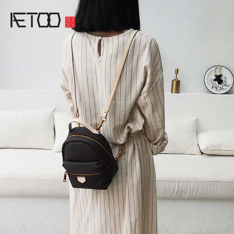 Aetoo 새로운 정품 가죽 배낭 여성 첫 번째 레이어 쇠가죽 채찍으로 치다 가죽 야생 색상 충돌 캠퍼스 스타일의 예술 작은 미니 배낭-에서백팩부터 수화물 & 가방 의  그룹 1