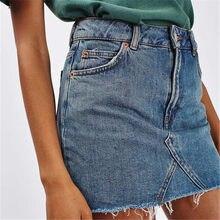 73fc727aae 2018 Mini falda de mezclilla para mujer con bolsillos falda de botón de moda  de verano para Mujer Faldas para dama de cintura al.