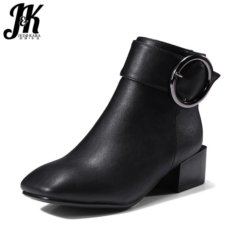J&K 2018 Plus Size 32-42 New Arrive Square Heels Ankle Boots Women Buckle Strap Square toe Winter Boots Female Footwear Zipper