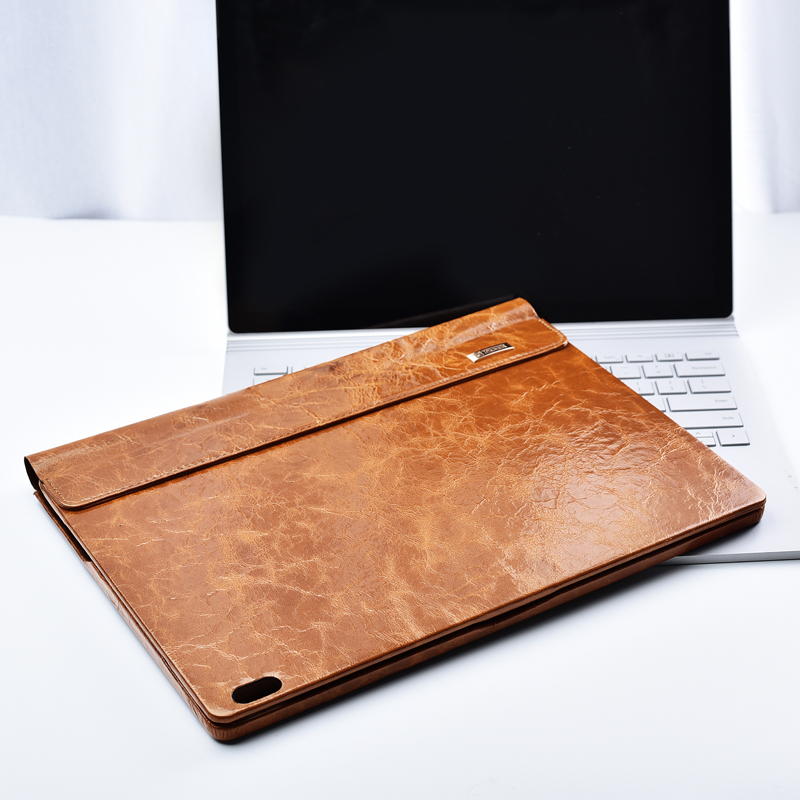 Oil Wax Vintage Cowhide Genuine Leather Case for Microsoft Surface Book 2 13.5 2018 Business Stand Smart Cover for Book 2 ...