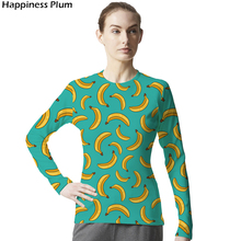 Фотография 2017 Banana T Shirt Women Long Sleeve Womens Brand Clothing 3d Print Tshirt Lycra Slim Funny T-shirt Hip Hop Top Tees Fashion
