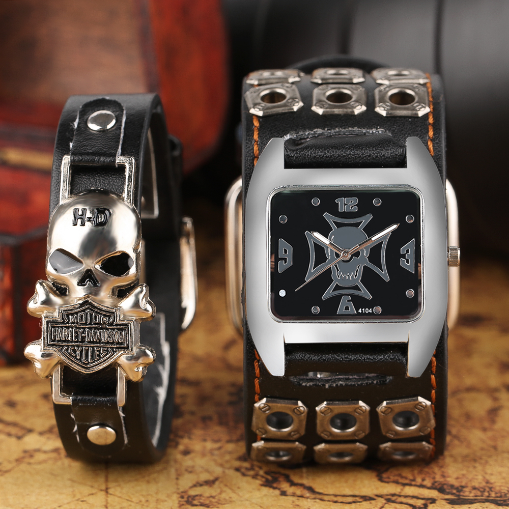 Gothic Skull Punk Wrist Watch Mens Special Diago Ghost Style Quartz Watches With Skeleton Accessories Bracelet Steampunk Reloj gothic skull hand pu leather bracelet black silver