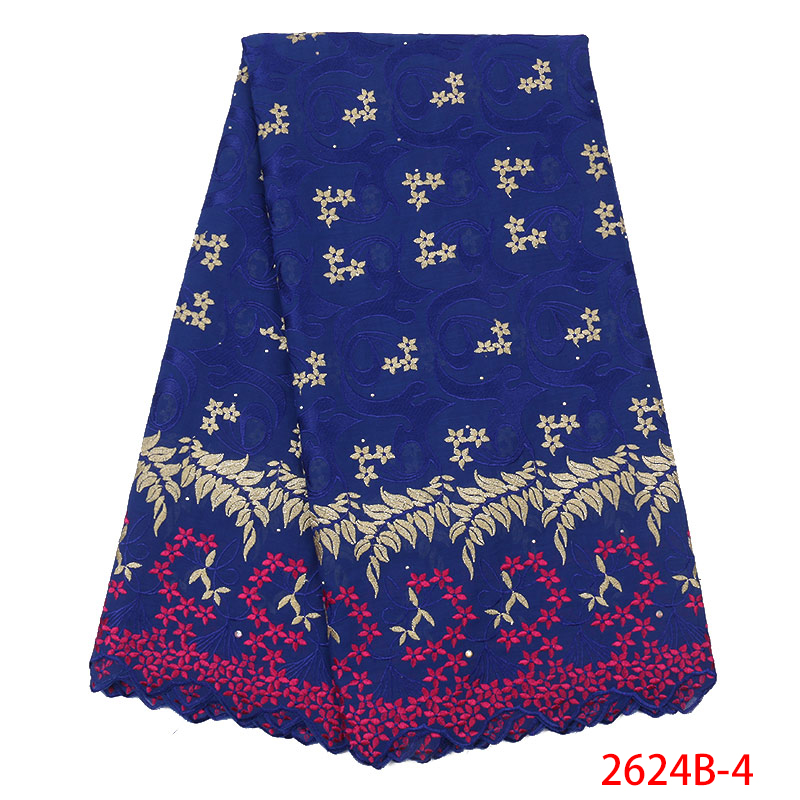 Swiss Voile Lace In Switzerland 2019 High Quality Nigerian Laces Fabric Embroidered Cotton With Stones For Dress KS2624B-4