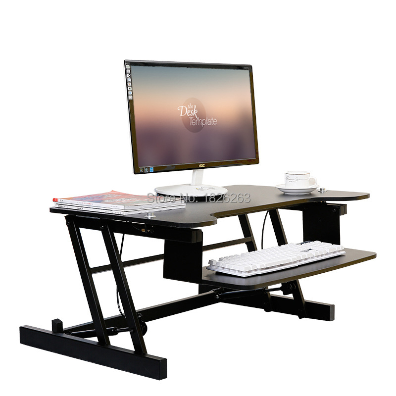 ergonomic easyup height adjustable sit stand desk riser foldable laptop desk stand with keyboard tray notebook - Cheap Desk