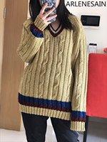 Arlenesain Пользовательские шерсть золотой нитью твист кос v образным вырезом пуловер Свободные вязать свитер для женщин