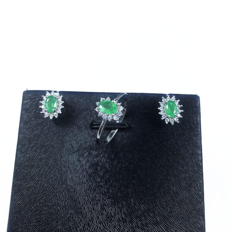 Natürlicher Smaragdschmuck Set Massiv 925 Sterling Silber Frau Stein - Edlen Schmuck - Foto 2