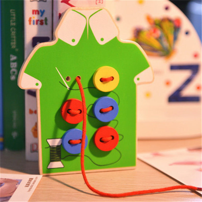 Wooden Toys Sew On Buttons Lacing Board Beads Toddler Early Educational Game Chi