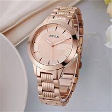 New Clock gold Fashion Men watch full gold Stainless Steel Quartz watches Wrist Watch Wholesale KEZZI