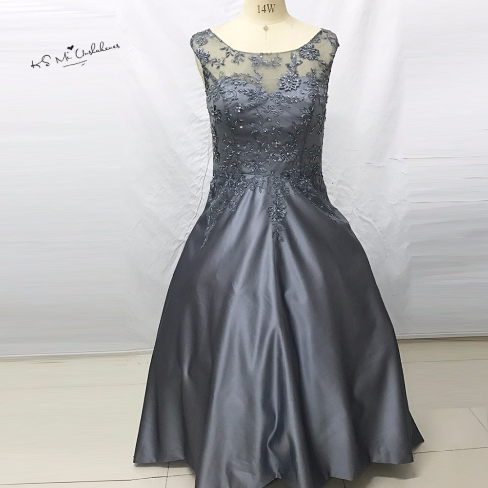 Dark gray brown long evening gowns lace beaded satin for Dark grey wedding dresses