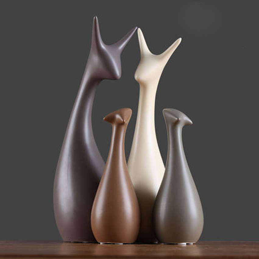 Europe cute ceramic Animal home decor crafts roomdecoration handicraft ornament porcelain animal figurines wedding decor in Figurines Miniatures from Home Garden