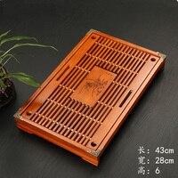 Solid Wood Tea Tray Drainage Water Storage Kung Fu Tea Set Drawer Tea Room Board Table