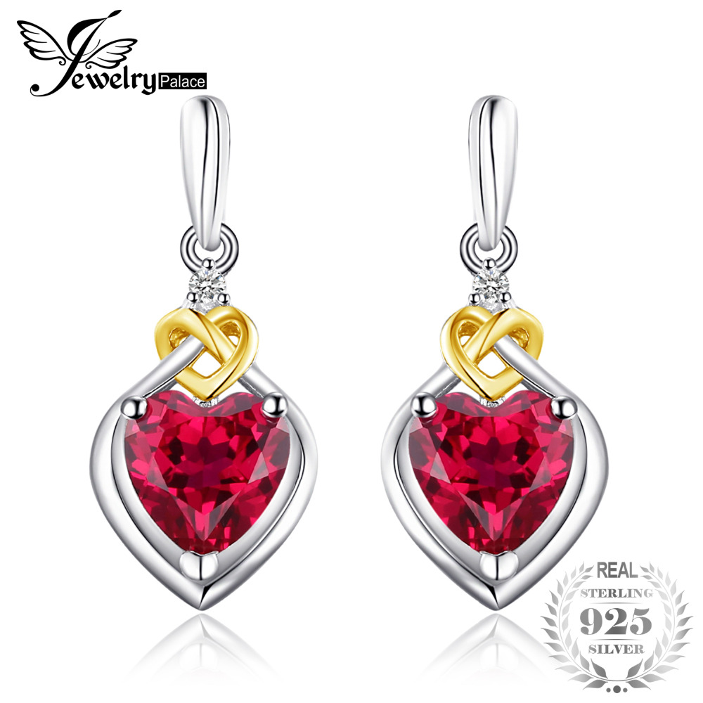 JewelryPalace Love Knot Heart 3.4ct ustvaril rdeče Ruby obletnice - Lep nakit