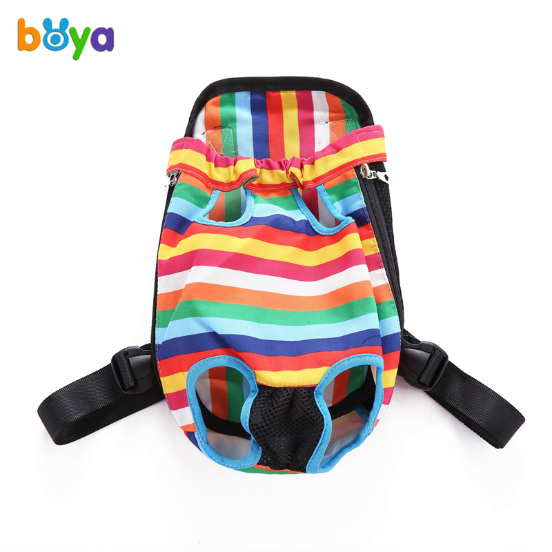 BOYA Fashion Dog Carrier Colorful Striped Travel Dog Backpack Breathable Pet Bags Shoulder Pet Puppy Carrier S/M/L