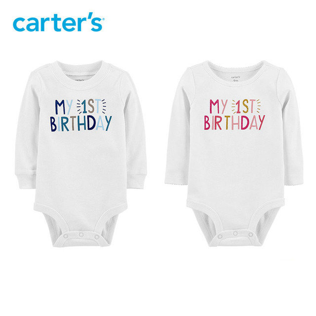 Carters My 1st Birthday Bodysuit Letter Print Long Sleeve Cotton Baby Girl Bodysuits Newborn Boy Clothes 119G395 119G401