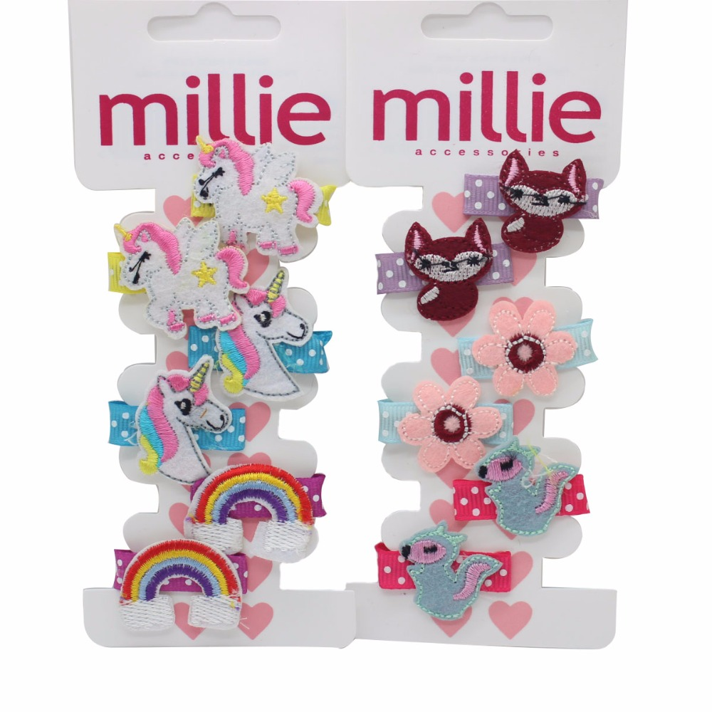 Wholesale cute cartoon hairpins unicorn&flower animals hair clips metal 3cm alligator clips hair accessories for little girls new arrival baby cute 30pcs lot wholesale hair clips glitter animals butterfly felt hairpins high quality baby princess clips