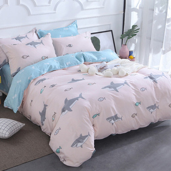 2019 New AB Side Bedding Solid Simple Bedding Set Modern Duvet Cover Set King Queen Full Twin Bed Linen Brief Bed Flat Sheet Set