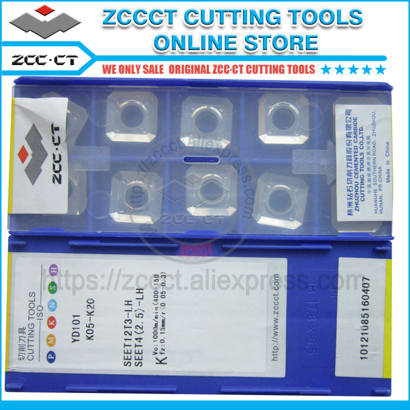 Free Shipping ZCCCT milling cutter SEET12T3 LH YD101 for mill of aluminum ZCC CT carbide inserts