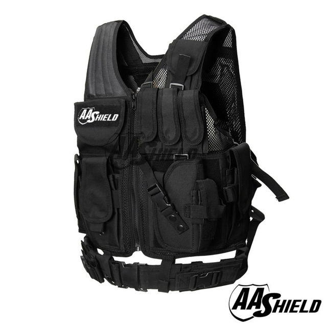 AA Shield Law Enforcement Tactical SWAT Vest Military Police Vest Black