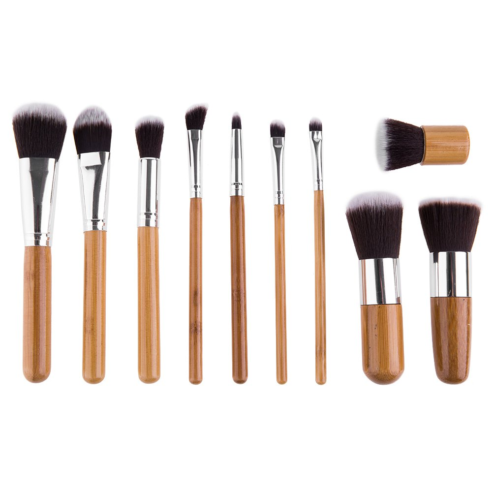 cosqueen New Arrival High Quality Makeup Cosmetics Beauty Tool 11 Pcs/set Wool Brush Set  With Pure Color Pouch2