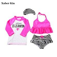 4pcs Two-Piece Girls Tankini Set Plavky Children Swimsuits Girls Bathing Suits 2018 Bikini Kids Swimwear Sports Suits G15-K61