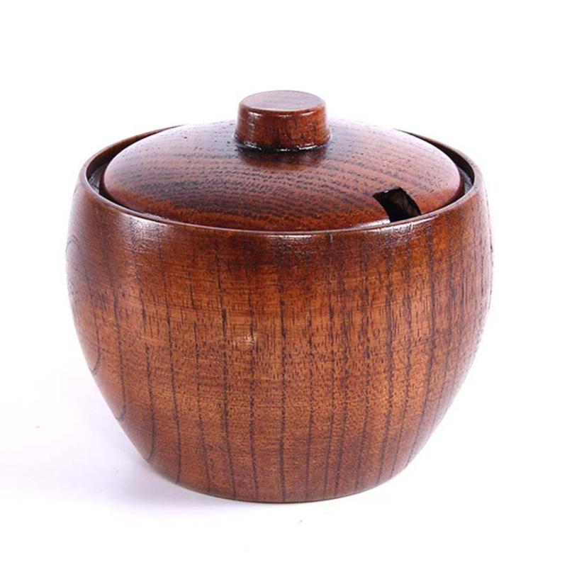 Natual Wood Round Salad Bowl Kitchen Handmade Children Fruit Rice Bowl Spice Jar Seasoning Can Sugar Salt Bowl With Cover