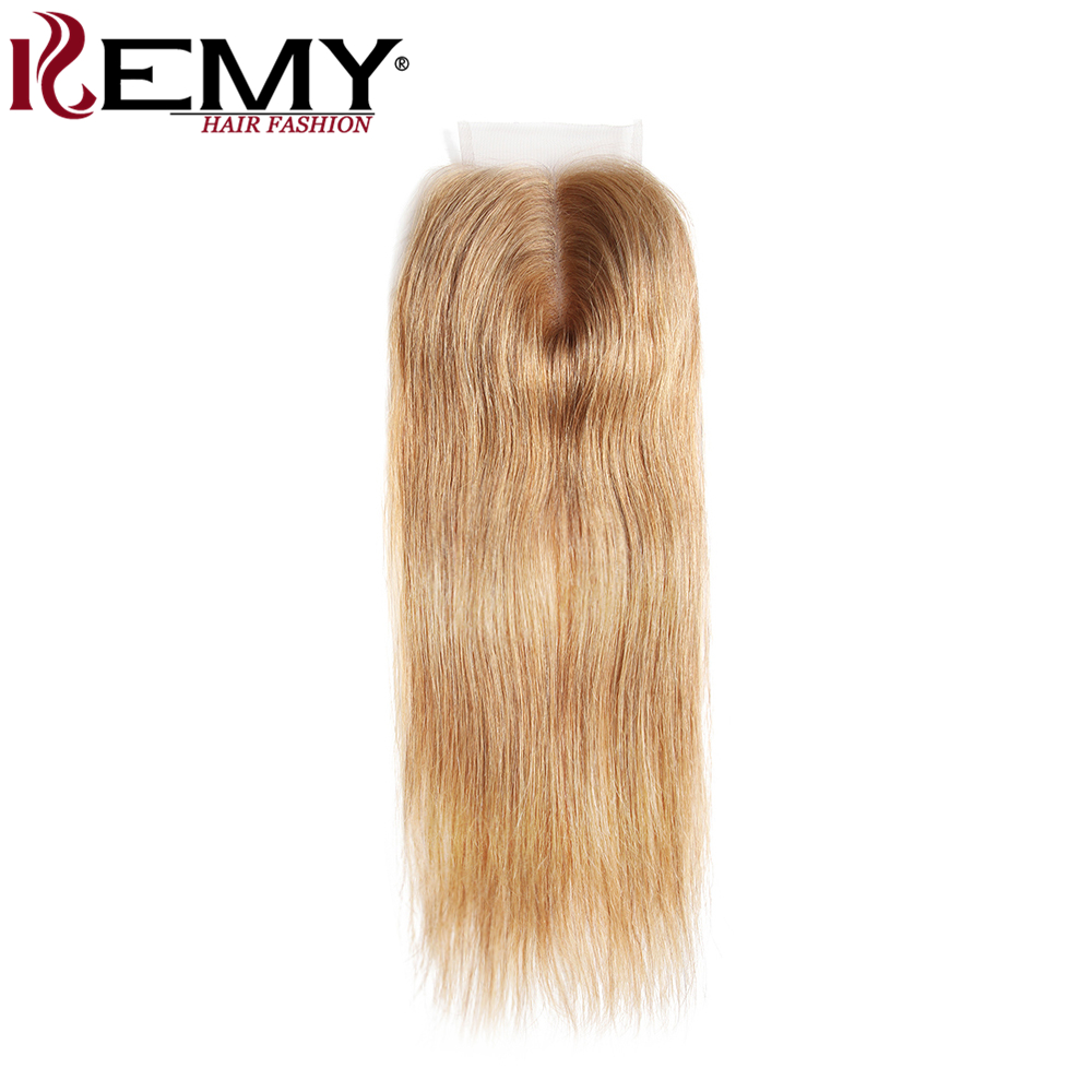 KEMY HAIR FASHION 100% Brazilian Straight Blonde Human Hair Lace Closure Non-Remy 8-20 Inch 4*4 Free&Middle Part Closure