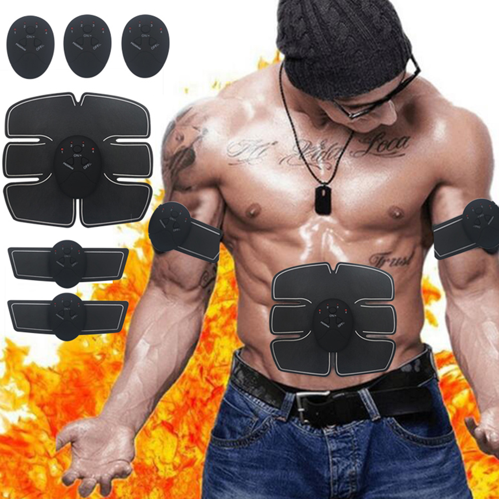TOMSHOO Electric Muscle Stimulator Fat Burning Abdominal Stimulation Muscle Exerciser Training Body Slimming Fitness Machine herbal muscle