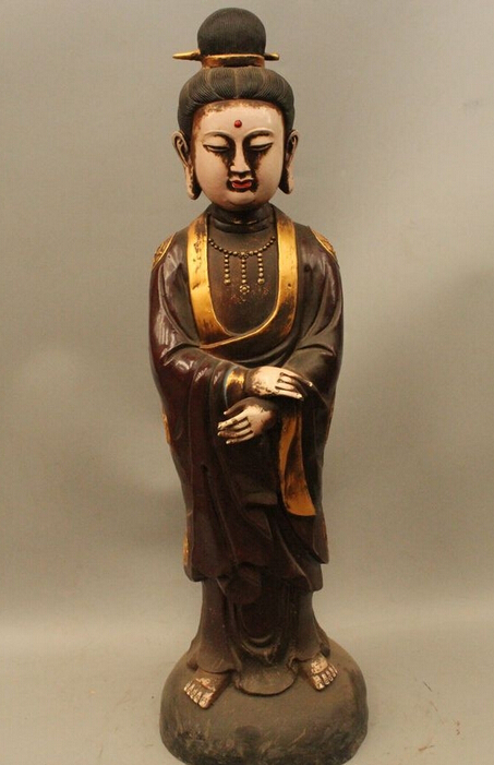 "xd 002867 31""Chinese Tibet Buddhism Bronze Gild Paint Kwan Yin Bodhisattva Buddha Statue buddha statue china statue buddha statue definition - title="