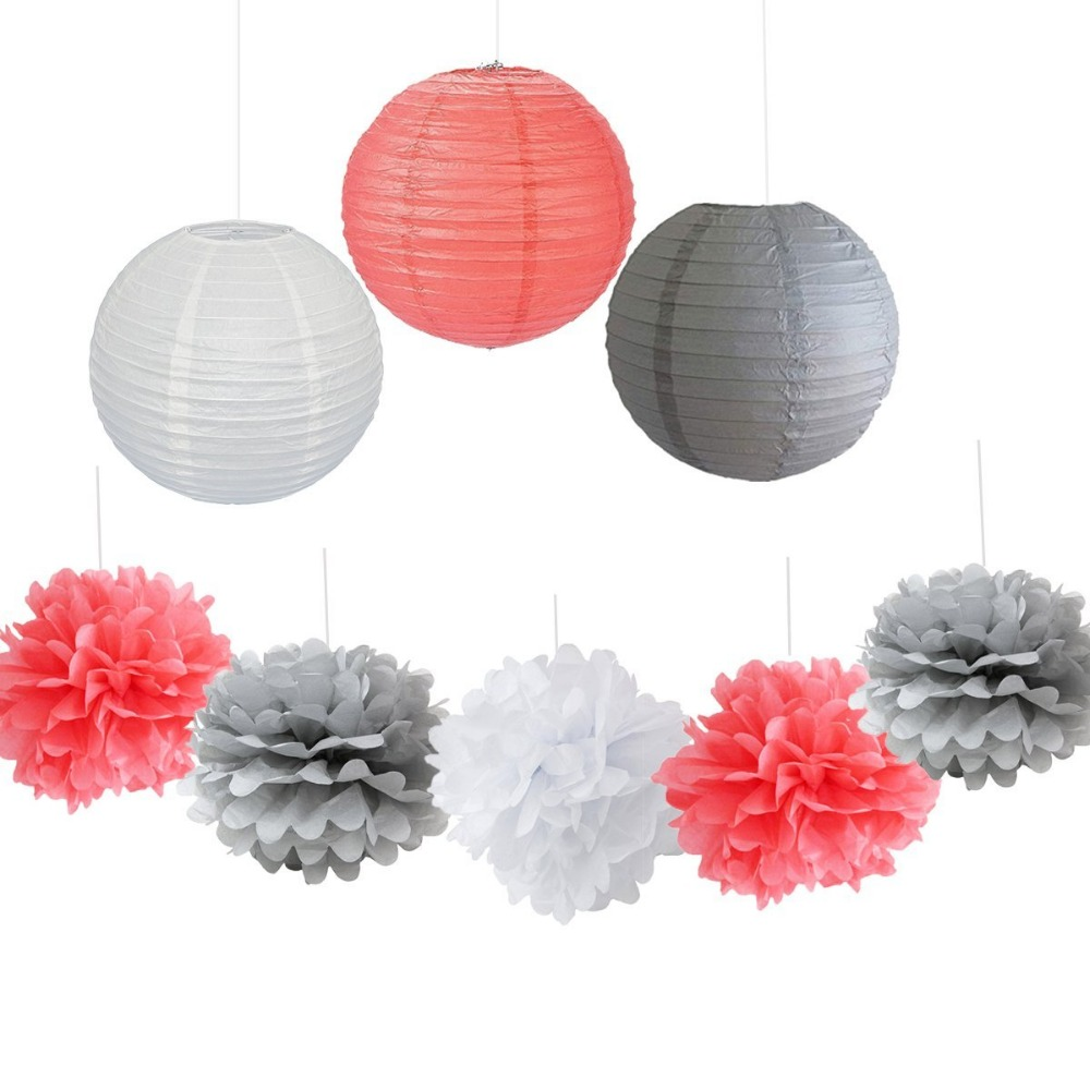 9PCS Coral Gray White Decorative Party Paper Pack Hanging Paper ...