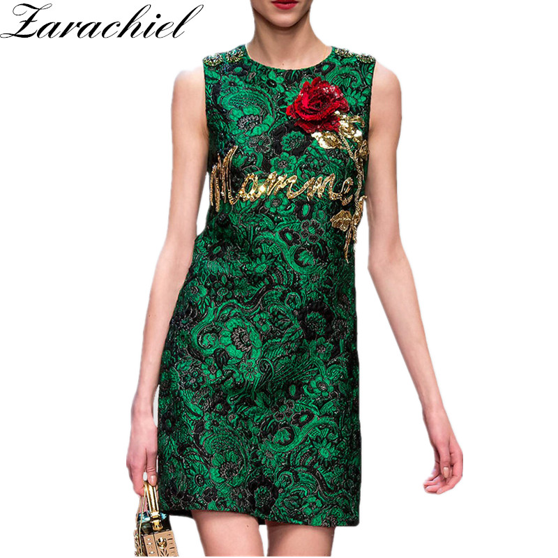 2019 Summer Runway Women High Quality Sequined Beading Rose Embroidery Jacquard Dress Ladies Sleeveless Party Green Tank Dress