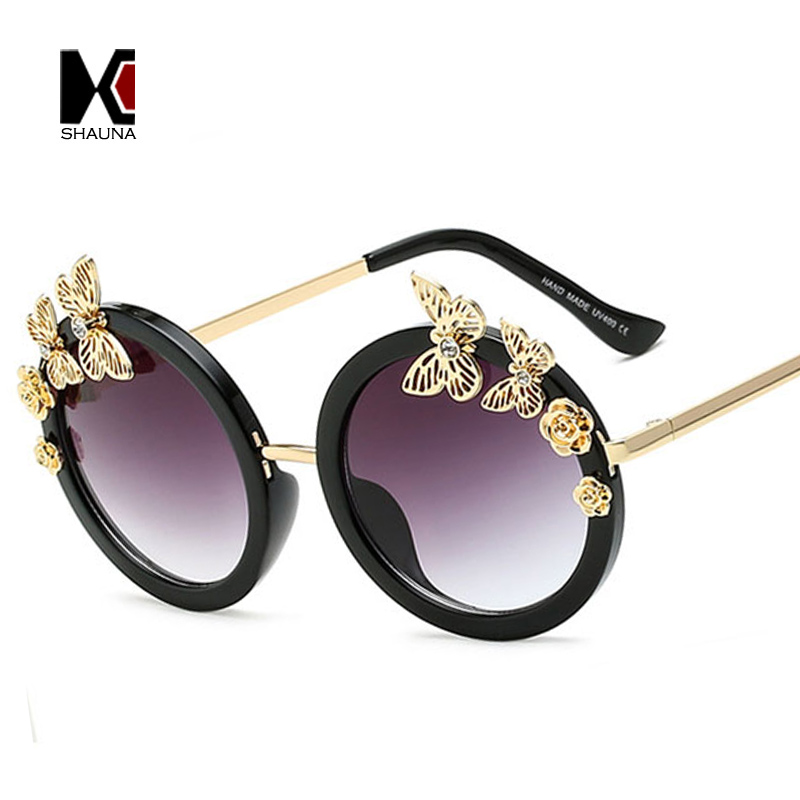 502cf2c493 SHAUNA Crystal Decoration Butterfly Rose Accessories Fashion Women Round  Sunglasses Ladies Beach Candid Snapshot Glasses-in Sunglasses from Apparel  ...