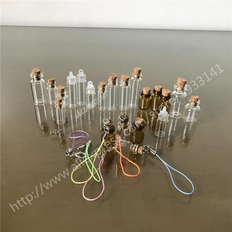 50 pcs Wishing bottles, clear glass bottles, cork bottles, sealed plastic lids, small necklaces, mini pendants, DIY gift bottles