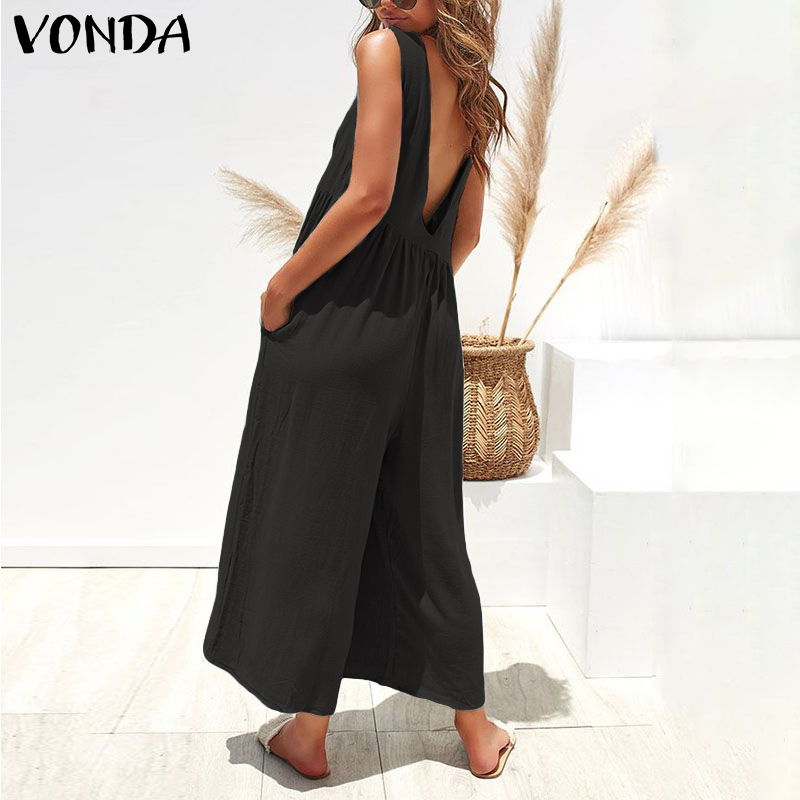 VONDA Summer Rompers Women Backless Jumpsuits 2020 Sleeveless Playsuits Casual Overalls Ankle-Length Wide Leg Pants Plus Size